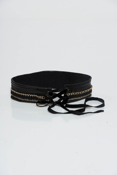 StarShinerS black belt from ecological leather ribbon fastening metallic details
