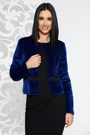 StarShinerS darkblue occasional ecological fur arched cut with inside lining with crystal embellished details