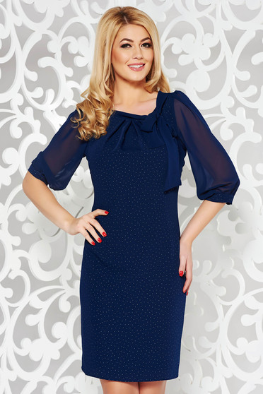 Darkblue elegant straight dress voile fabric with inside lining with bright details