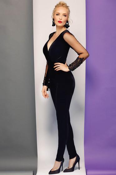 Fofy black occasional velvet jumpsuit with v-neckline