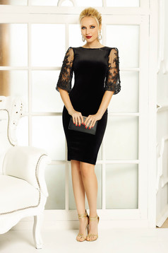 Fofy black occasional velvet pencil dress with cut back