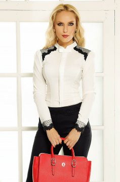 Fofy white office women`s shirt with tented cut with lace details