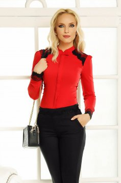 Fofy red office women`s shirt with tented cut with lace details
