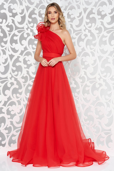 Ana Radu red luxurious dress with inside lining accessorized with tied waistband one shoulder