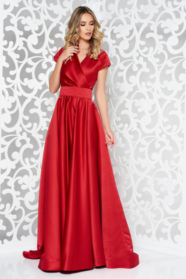 Ana Radu burgundy long luxurious cloche dress from satin fabric texture accessorized with tied waistband