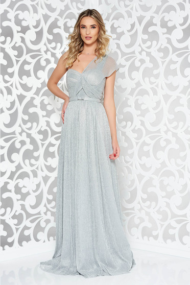 Ana Radu silver luxurious dress with inside lining accessorized with tied waistband shimmery metallic fabric long