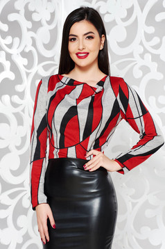 StarShinerS red casual sweater with tented cut knitted fabric