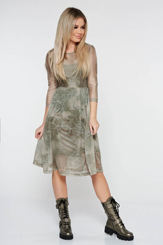 StarShinerS khaki daily cloche dress with 3/4 sleeves transparent fabric