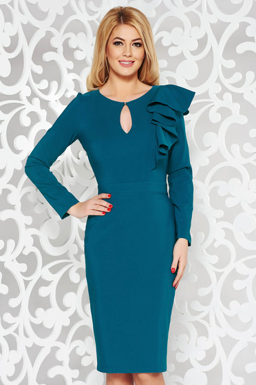 LaDonna blue elegant pencil dress slightly elastic fabric with inside lining with ruffle details