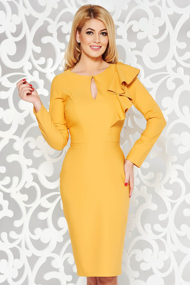 LaDonna yellow elegant pencil dress slightly elastic fabric with inside lining with ruffle details