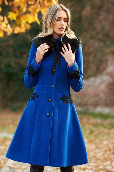 LaDonna best impulse elegant from wool with inside lining blue coat with embroidery details with pockets