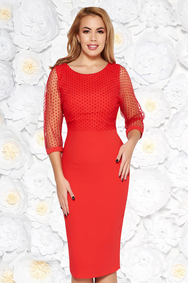 Red elegant pencil dress slightly elastic fabric with inside lining transparent sleeves