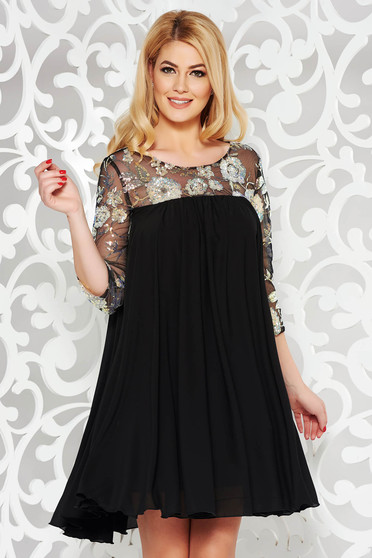 StarShinerS black dress occasional flared from veil fabric with inside lining with sequin embellished details