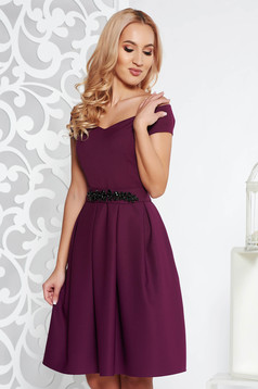 StarShinerS purple dress occasional cloche with inside lining slightly elastic fabric with embellished accessories