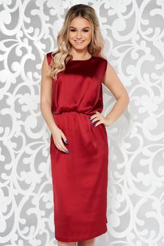 Burgundy occasional midi sleeveless dress from satin fabric texture with elastic waist