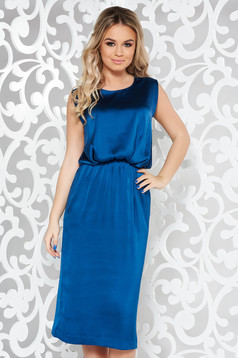 Blue occasional midi sleeveless dress from satin fabric texture with elastic waist