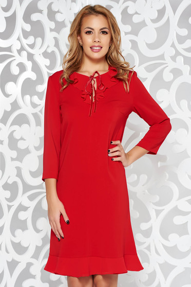 Red elegant 3/4 sleeve straight dress slightly elastic fabric with ruffles at the buttom of the dress