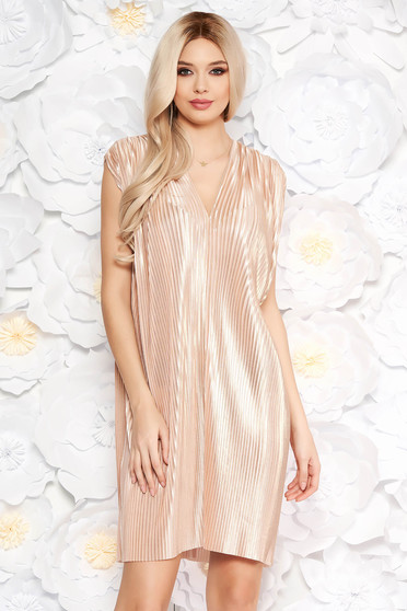 Nude occasional flared folded up dress nonelastic fabric with metallic aspect