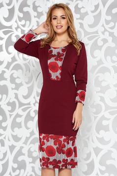 Burgundy elegant pencil dress with 3/4 sleeves slightly elastic fabric