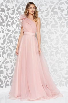 Ana Radu rosa luxurious dress with inside lining accessorized with tied waistband one shoulder