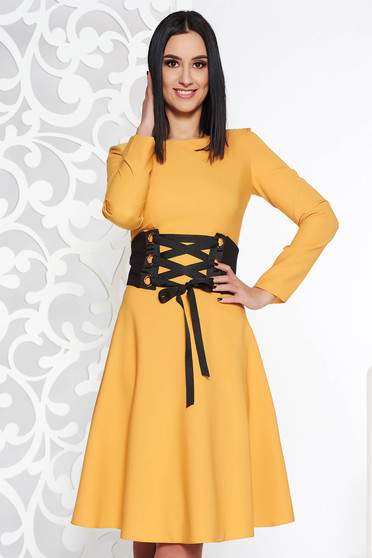 LaDonna mustard daily elegant cloche dress slightly elastic fabric accessorized with tied waistband
