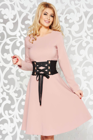 LaDonna rosa daily elegant cloche dress slightly elastic fabric accessorized with tied waistband