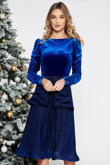 StarShinerS blue occasional velvet dress from shiny fabric with inside lining with frilled waist