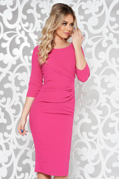 Pink basic pencil 3/4 sleeve dress slightly elastic fabric