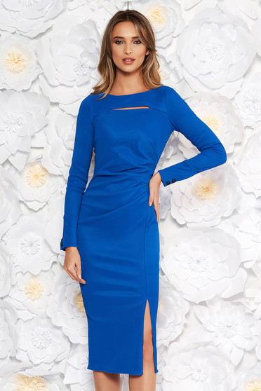Blue scuba pencil dress long sleeved cut-out bust design