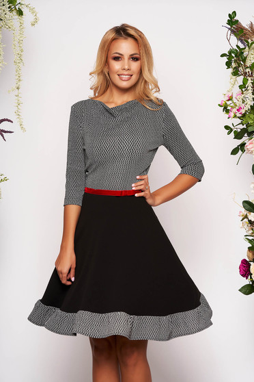 StarShinerS black daily cloche dress with 3/4 sleeves