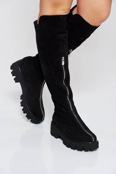 Black casual boots from suede natural leather zipper accessory