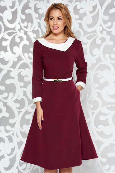 Burgundy elegant cloche dress slightly elastic fabric accessorized with belt