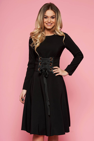 LaDonna black daily elegant cloche dress slightly elastic fabric accessorized with tied waistband