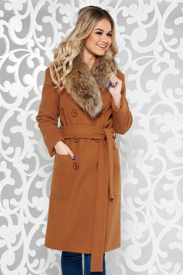 LaDonna brown elegant straight wool coat fur collar