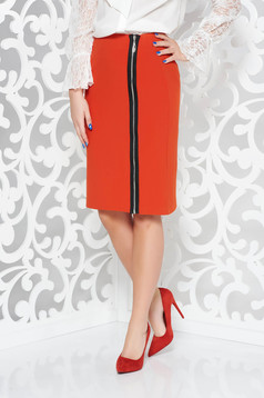 Orange office high waisted skirt from soft fabric