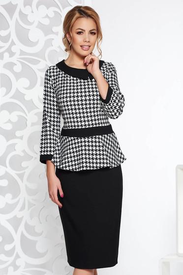 Black elegant pencil dress frilled 3/4 sleeve slightly elastic cotton