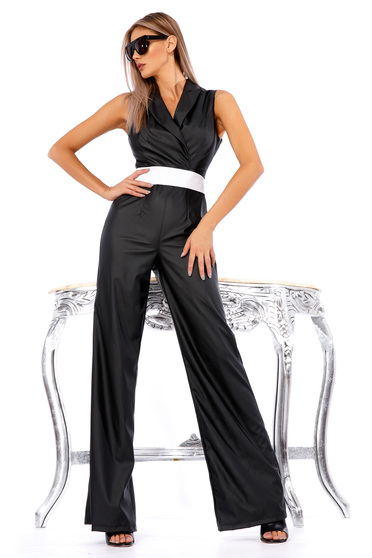 Black clubbing jumpsuit from ecological leather flaring cut accessorized with tied waistband