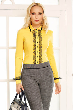 Fofy yellow office body slightly elastic cotton with lace details