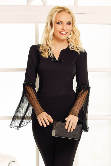 Fofy black occasional body with tented cut transparent sleeves bow accessory