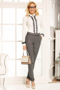 Fofy grey office trousers cloth with medium waist straight