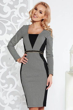 StarShinerS black office midi pencil dress from elastic fabric metallic details