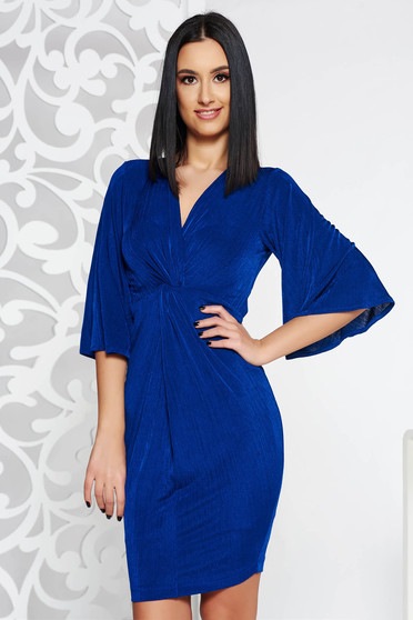 StarShinerS blue midi occasional dress from elastic fabric with v-neckline with bell sleeve