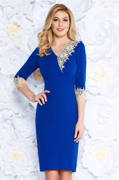 Blue occasional pencil dress with tented cut with v-neckline with lace details