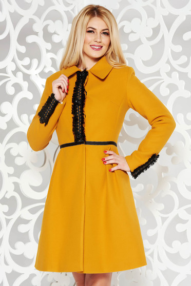 LaDonna mustard elegant wool coat with embroidery details