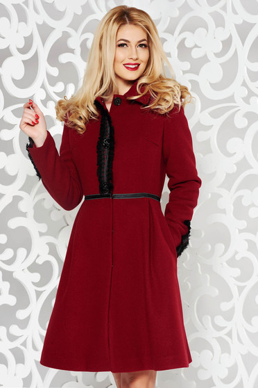 LaDonna burgundy elegant wool coat with embroidery details