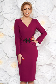 LaDonna purple elegant pencil dress slightly elastic fabric with embroidery details