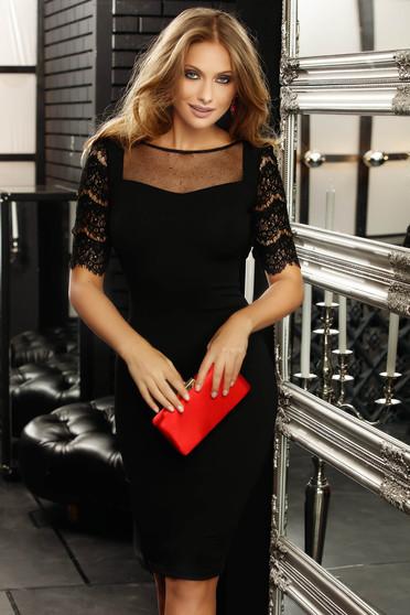 Fofy black elegant pencil dress slightly elastic fabric with laced sleeves