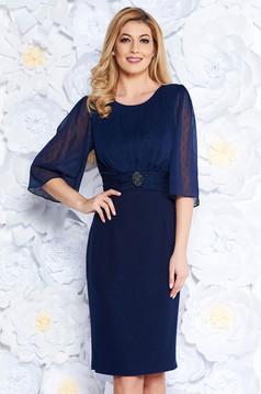 Darkblue occasional dress shimmery metallic fabric with tented cut with small beads embellished details