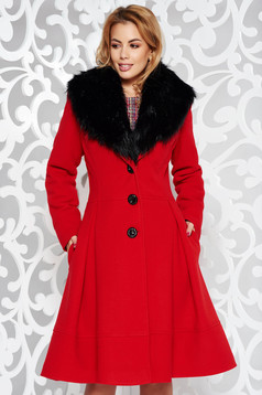 LaDonna red elegant cloche coat from wool with detachable faux fur insertions