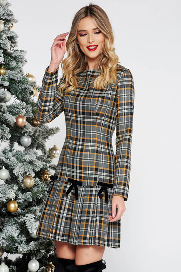 LaDonna grey daily a-line cotton dress plaid fabric with bow accessories